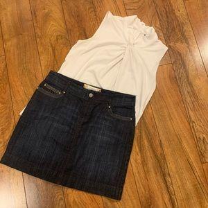 White House Black Market dark denim mini skirt